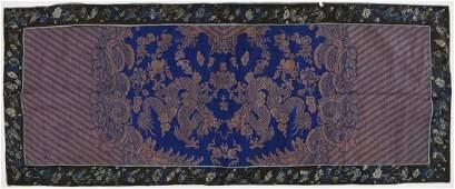 Chinese Dragon Silk Brocade Panel 22''x55''. Silk