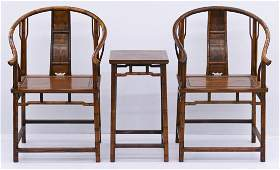 3pc Chinese Huanghuali Horseshoe Chair & Table Set.