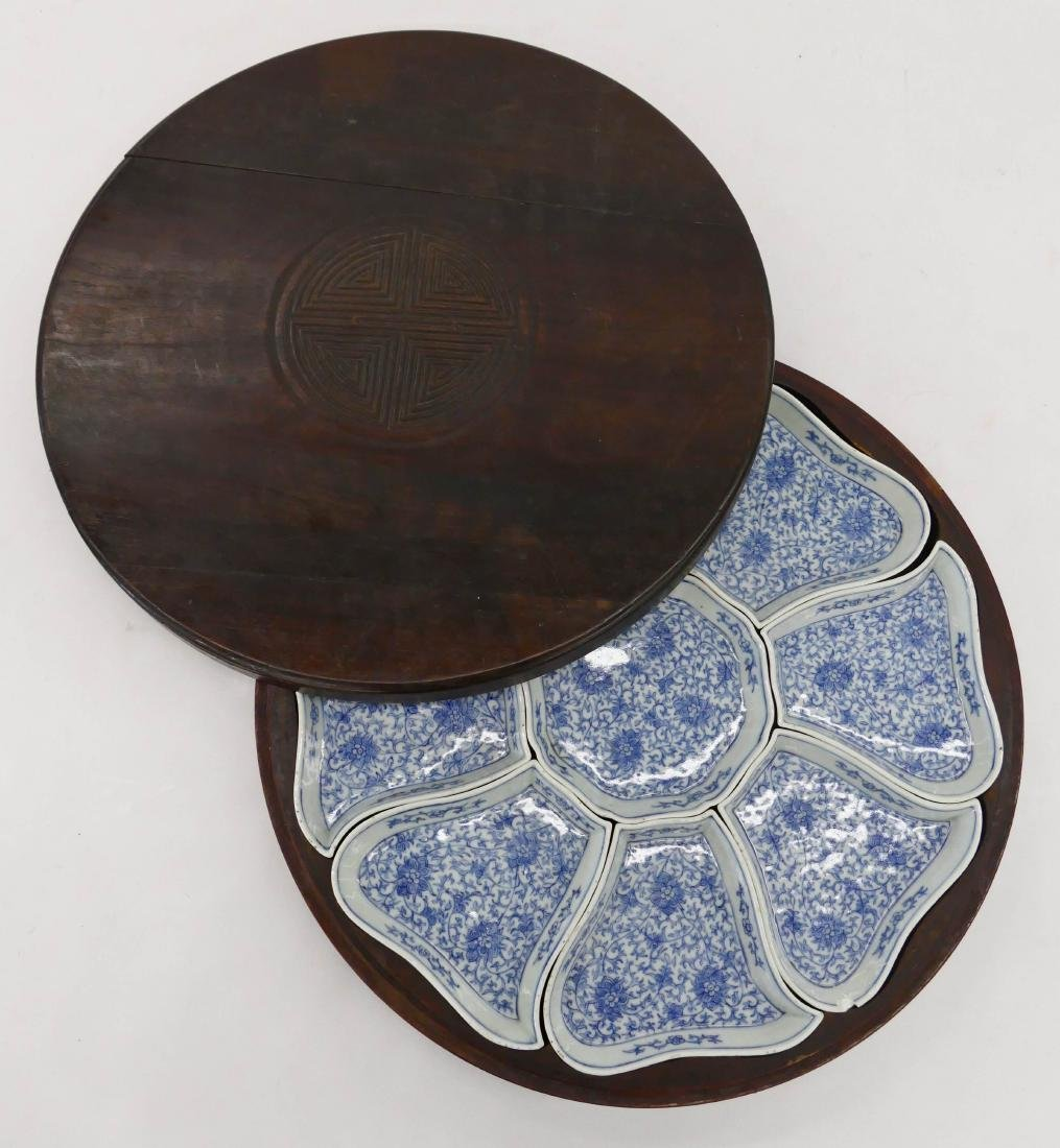 Chinese Porcelain Sweet Meat Set in Rosewood Box