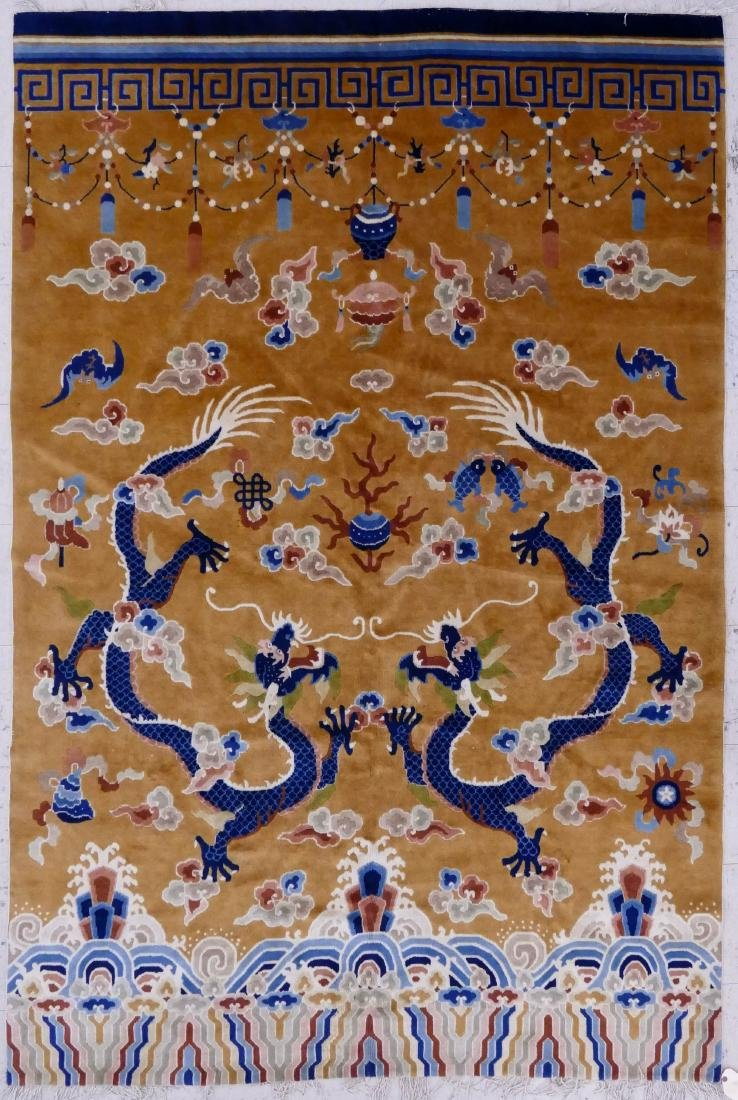 Chinese Peking Dragon Temple Rug 9'x6'. An unusual