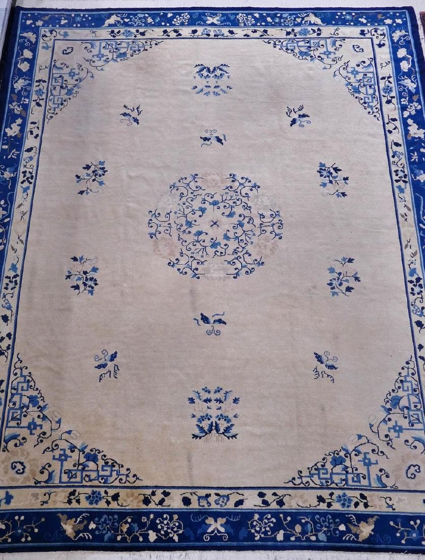 Chinese Yellow Ground Peking Rug 9'4''x11'8''. Cobalt