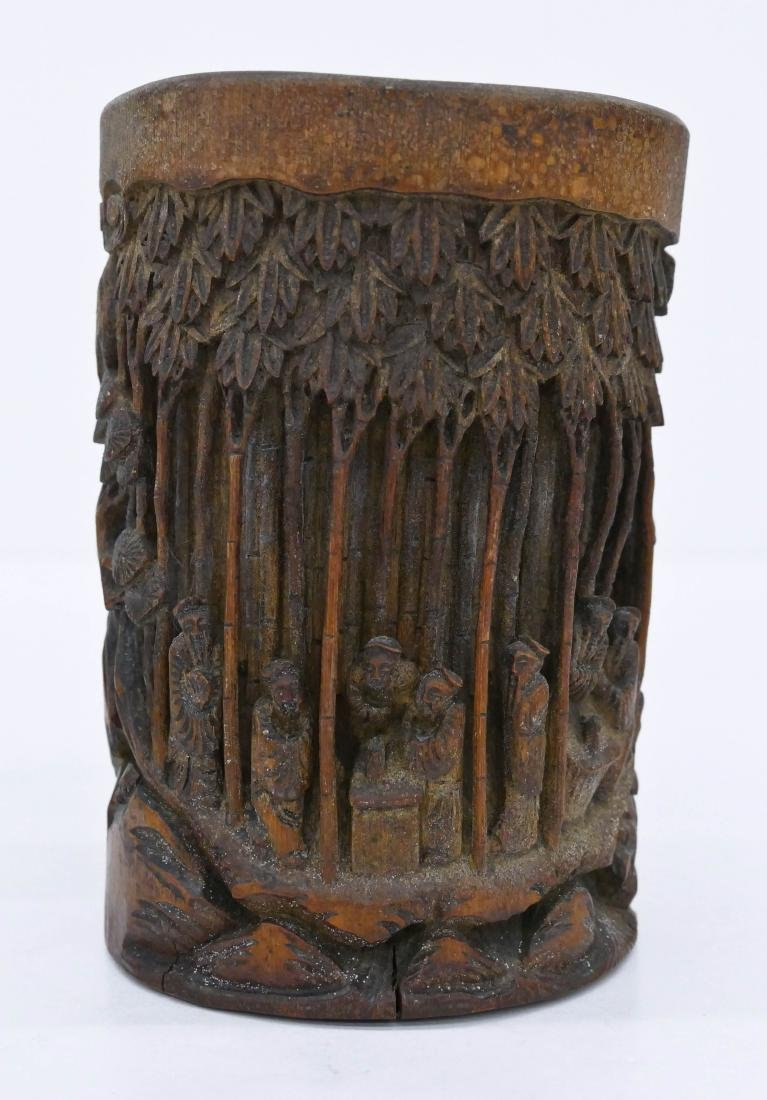 Chinese Carved Bamboo Brush Pot 6.5''x4.75''. Relief