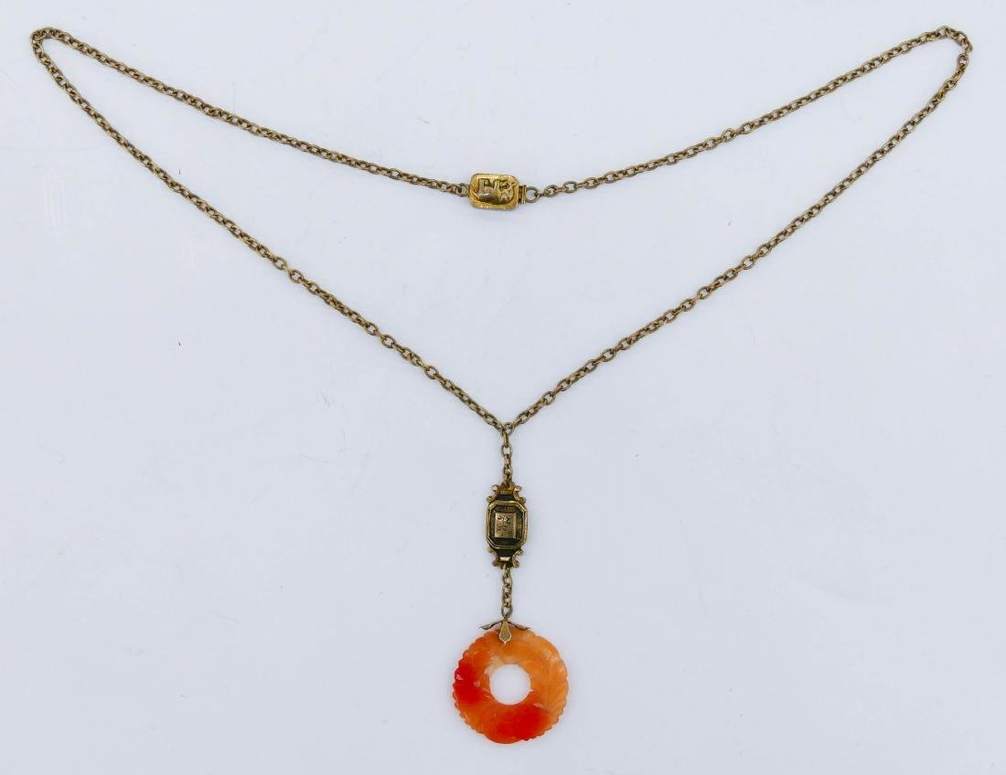 Chinese Sycee Carnelian Pendant Necklace 19''. Gilt