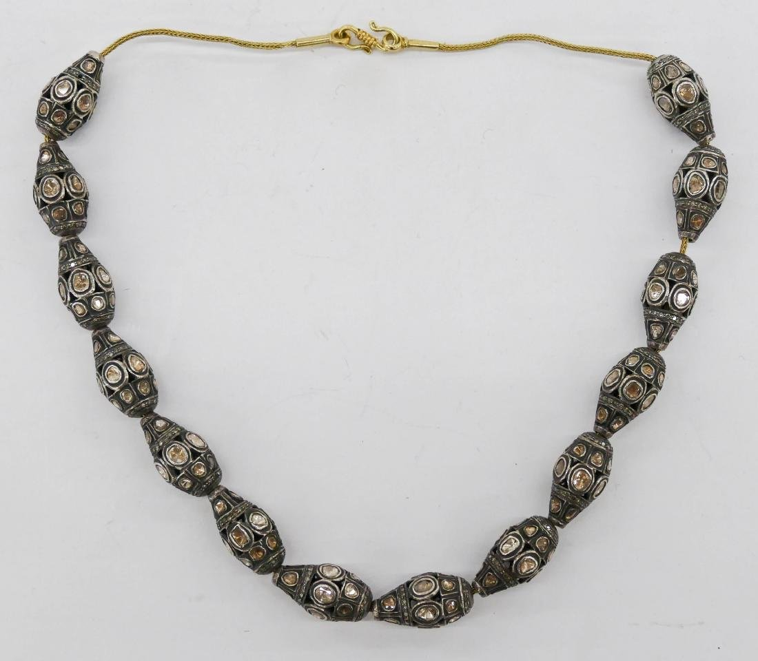 Important Mughal Diamond Slide Necklace 18''. Necklace