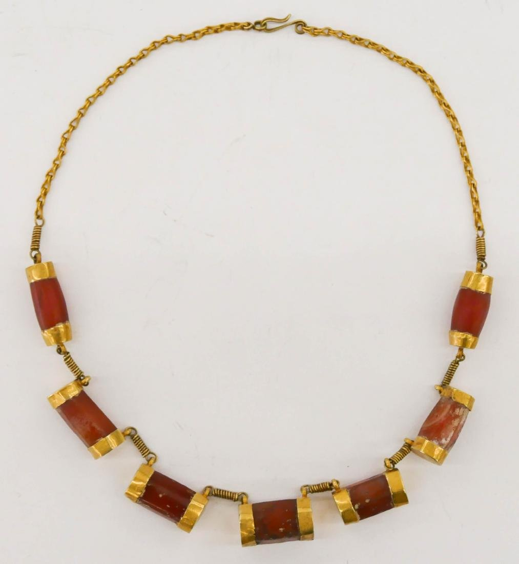 Ancient Persian Carnelian & Gold Necklace 19''.
