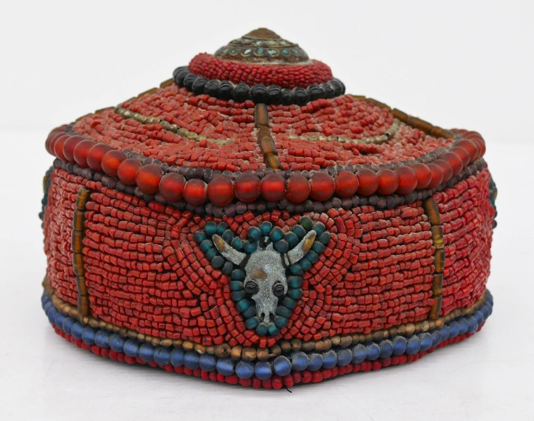 Tibetan Coral & Glass Bead Hat 4.5''x8''. Profusely