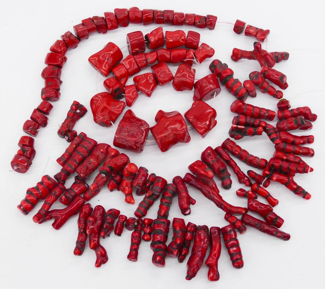 4pc Strands of Natural Coral Beads .5'' to 3'' Long