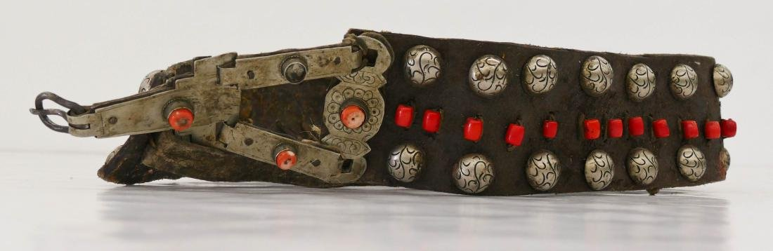 Tibetan Applied Silver & Coral Leather Belt 36''x3.5''.