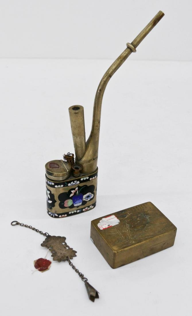 3pc Chinese Opium Pipe, Ink Box, & Toggle. Includes an