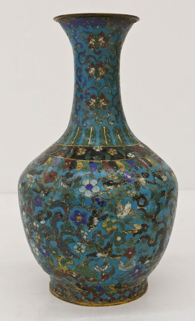 Chinese Ming Cloisonne Bottle Vase 12''x7''. An early
