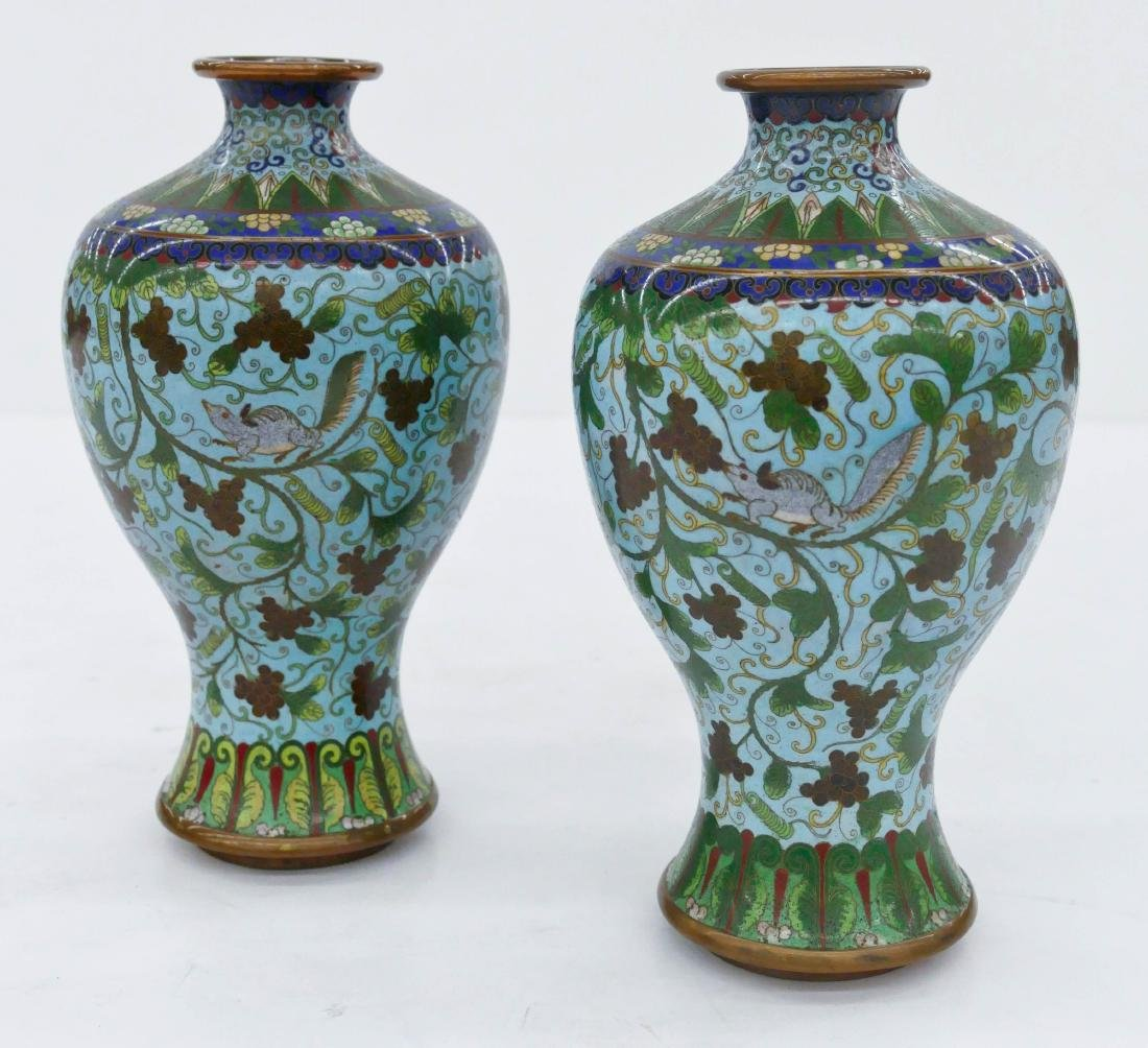 Pair Chinese Squirrel Cloisonne Meiping Vases 9''x5''