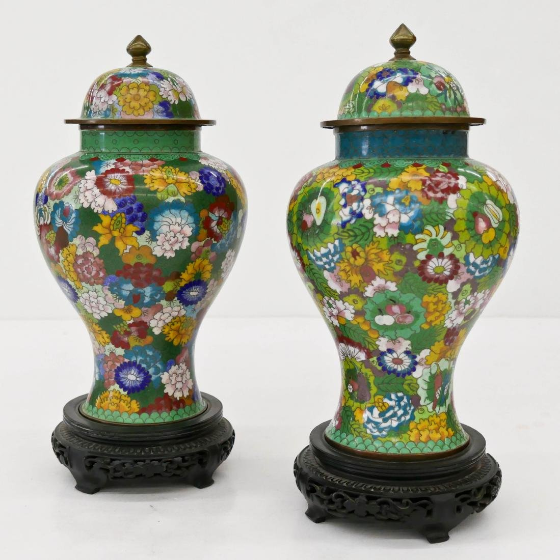Pair Chinese Cloisonne Covered Urns on Stands 13''x6''