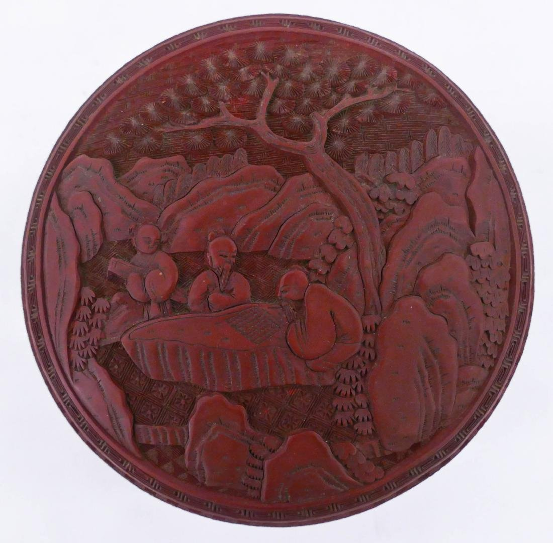 Chinese Cinnabar Round Box 5''x8''. Intricately carved