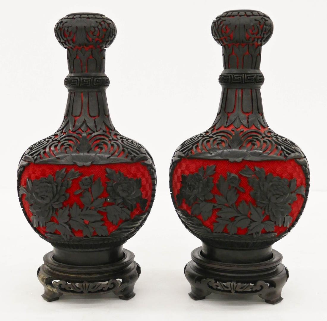 Pair Chinese Two Color Cinnabar Garlic Bulb Vases on