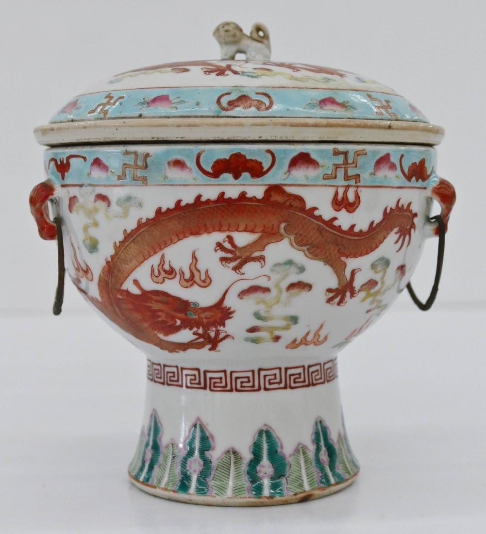 Chinese Dragon & Phoenix Food Warming Dish 6''x6''. A