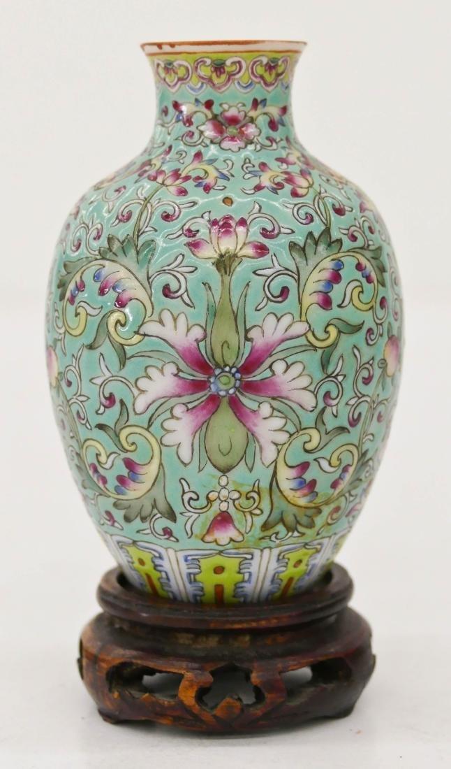 Chinese Turquoise Ground Famille Rose Miniature Vase