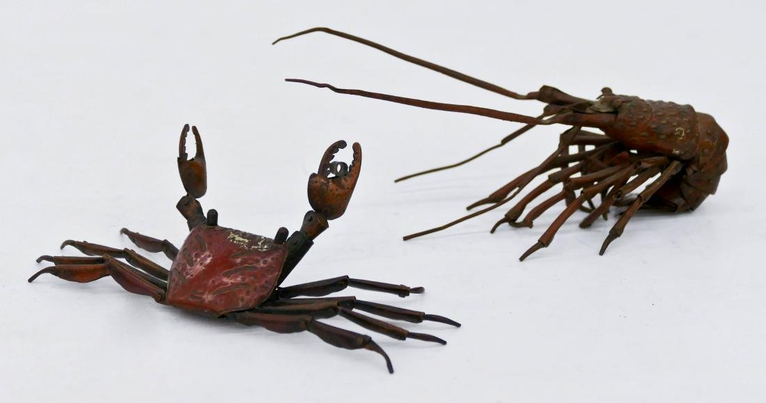 2pc Japanese Articulated Copper Sea Life. Includes a