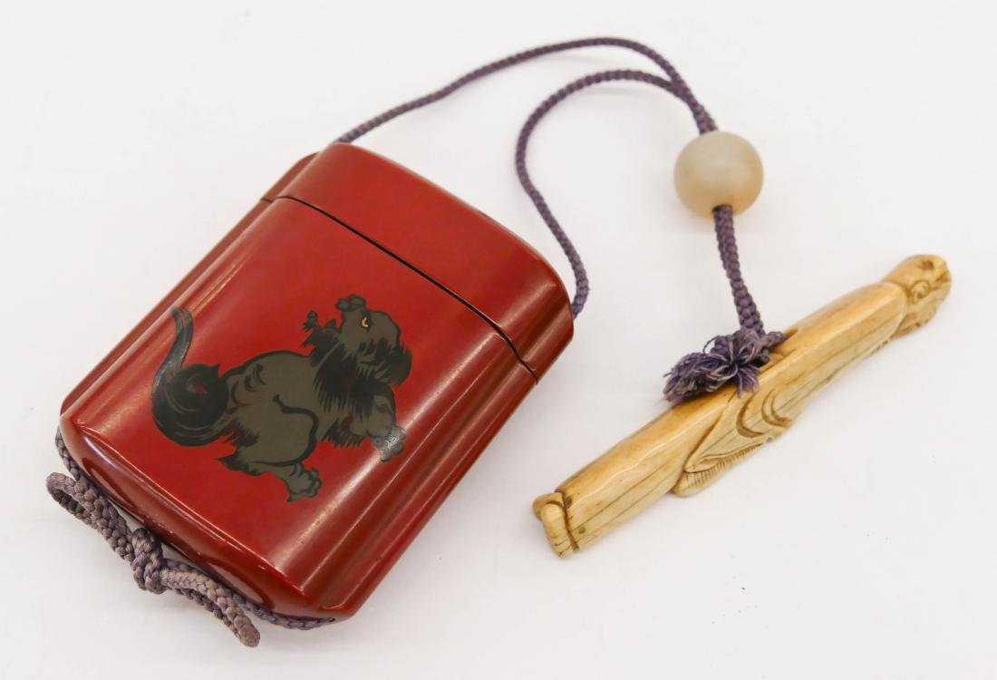 Japanese Lacquered Inro with Netsuke. Red lacquered
