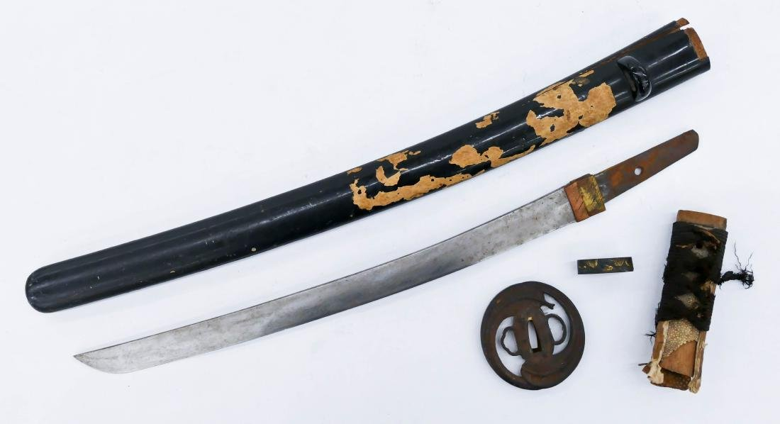 Japanese Shoto Short Sword Parts. Includes an unsigned