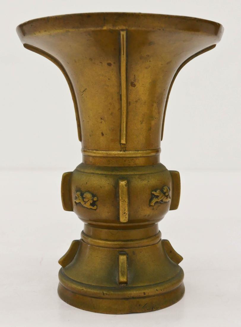 Chinese Archaic Bronze Gu Beaker Vase 7''x5.5''.