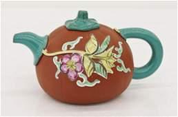 Chinese Enameled Melon Form Yixing Teapot 4''x7.5''.