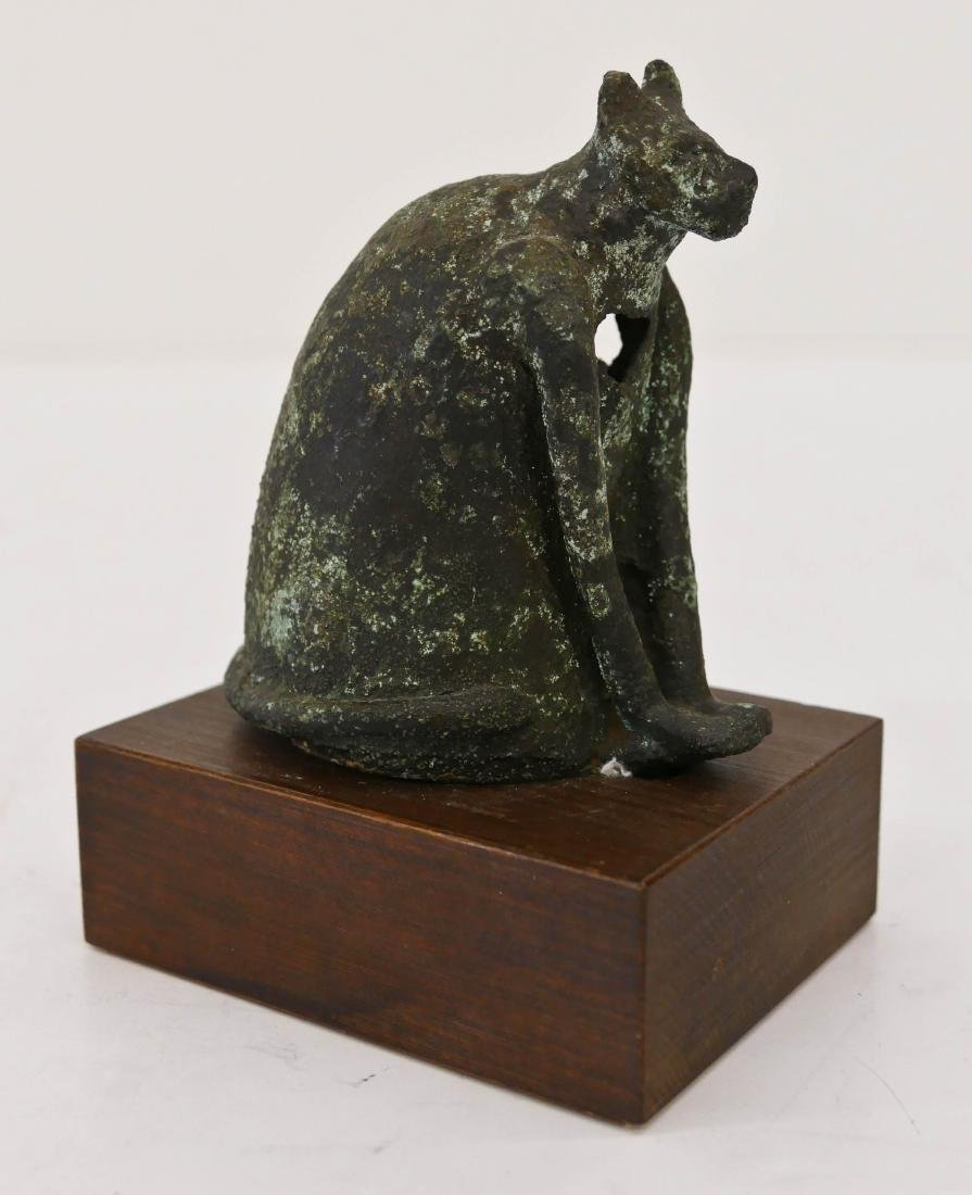 Ancient Egyptian Seated Bronze Cat on Base 4.5''x3.5''.