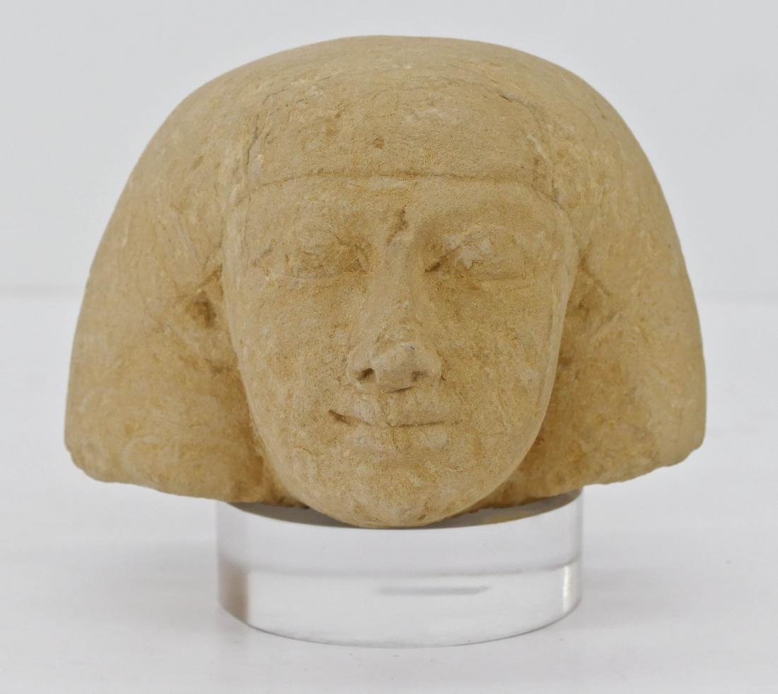 Ancient Egyptian Sandstone Head on Stand 6''x6.5''.