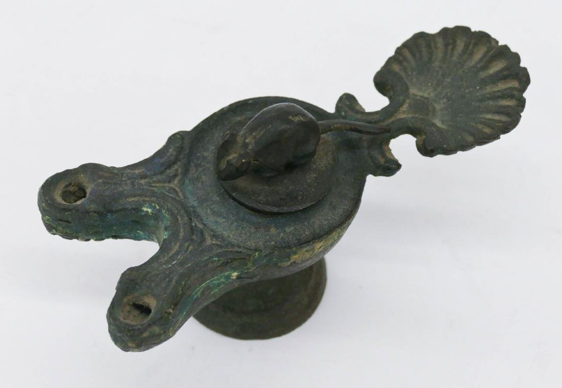 Ancient Roman Bronze Oil Lamp 2.5''x4.5''. A double