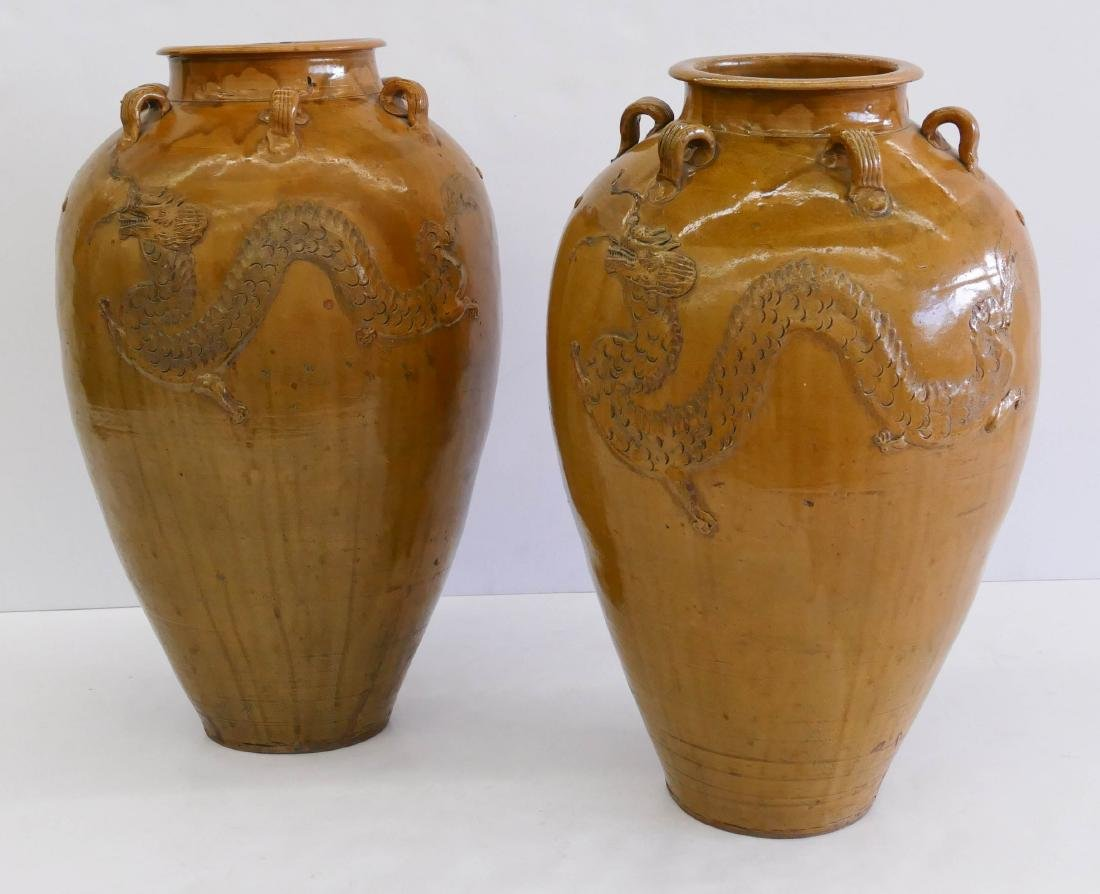 Pair Chinese Martaban Dragon Jars 26''x16'' Each.
