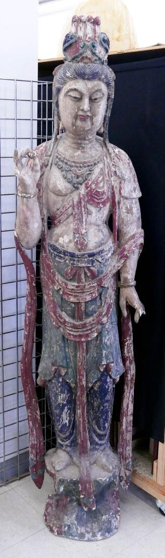 Monumental Chinese Polychrome Wood Standing Guanyin
