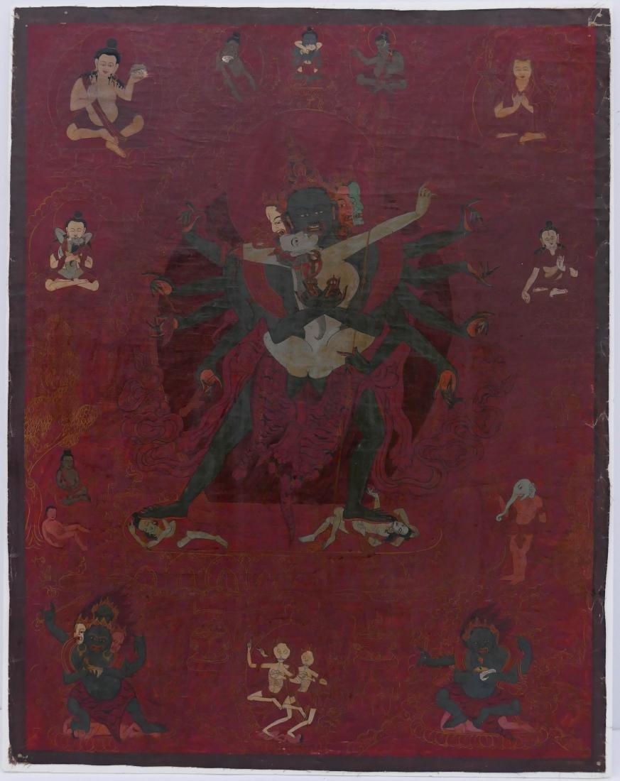 Tibetan Yab Yum Painted Thangka 23''x18''. Polychrome