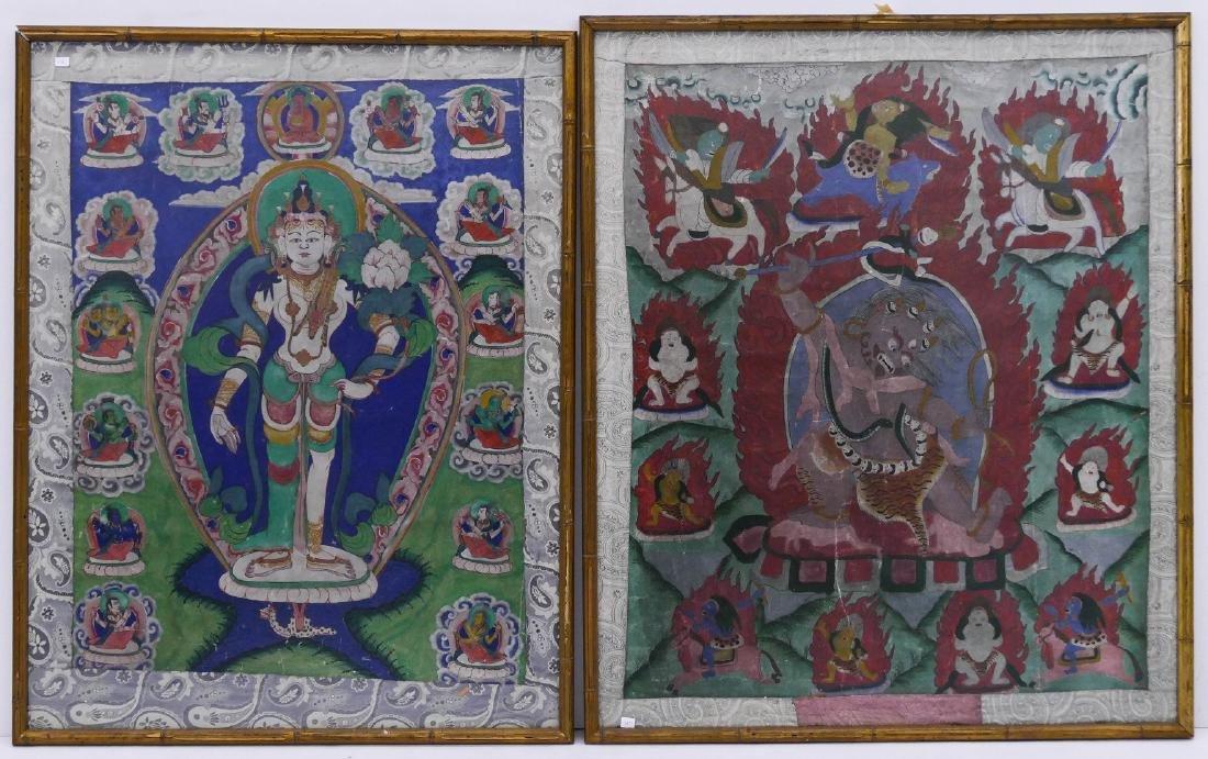 2pc Tibetan Buddhist Thangkas Framed 32''x25'' Each
