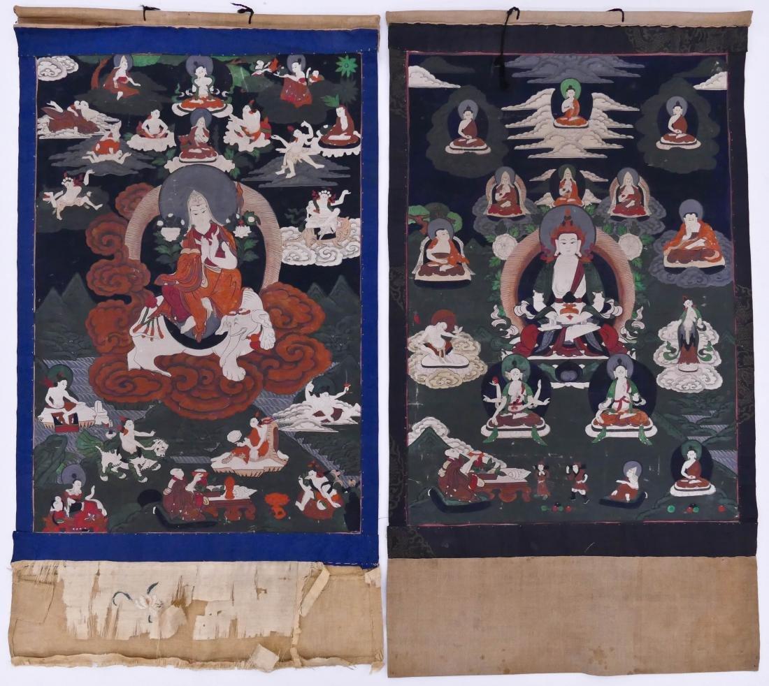 2pc Tibetan Buddhist Thangkas 34''x19'' Each. A near