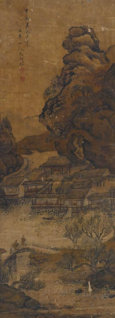 Antique Ming Chinese Temple Landscape Scroll Painting 4