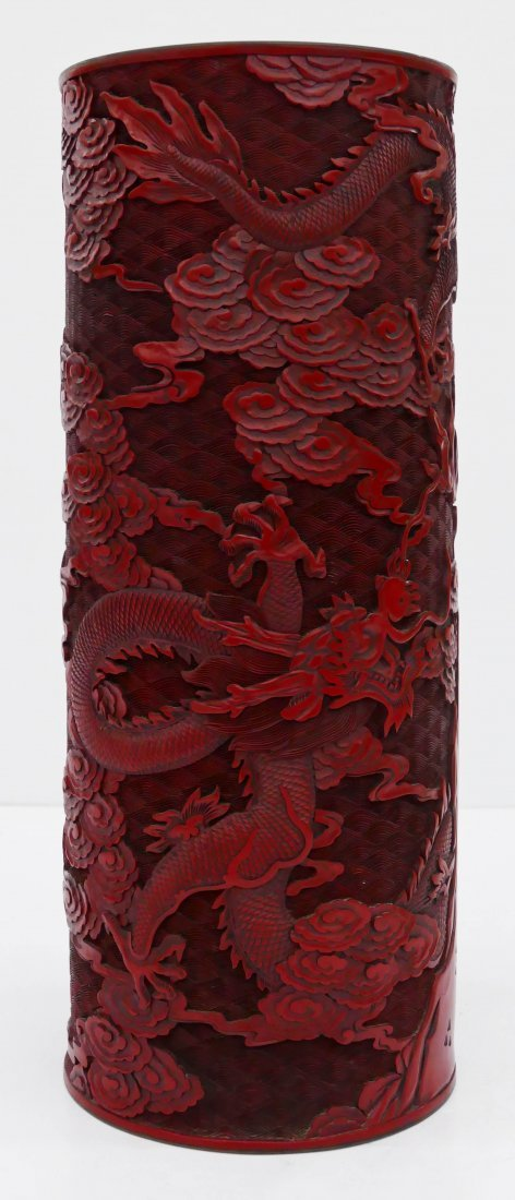 "Chinese Cinnabar Dragon Umbrella Stand 20""x8"". Finely c"