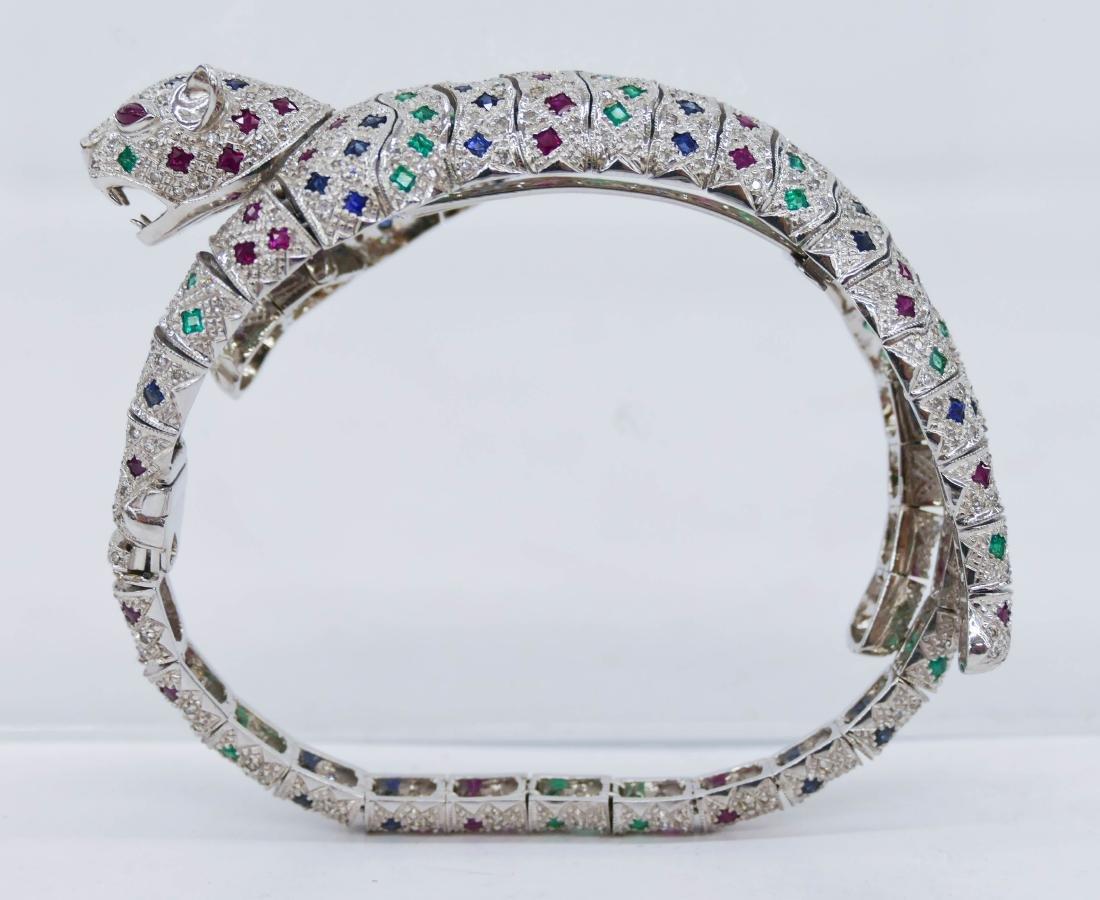 Lady's Articulated Leopard 18k Diamond, Emerald, Ruby,