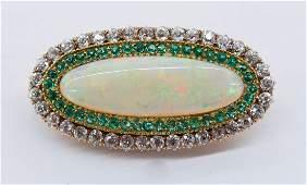 Ladys Edwardian Opal Diamond  Emerald 14k Brooch