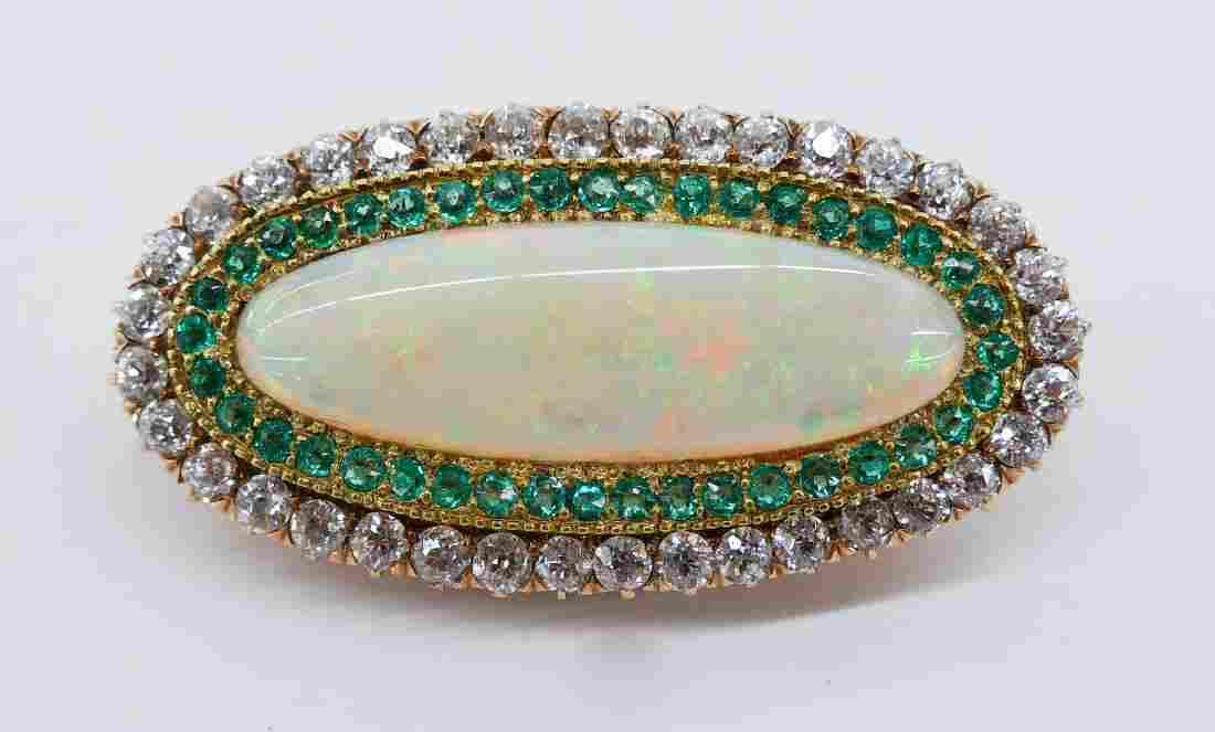 Lady's Edwardian Opal, Diamond & Emerald 14k Brooch