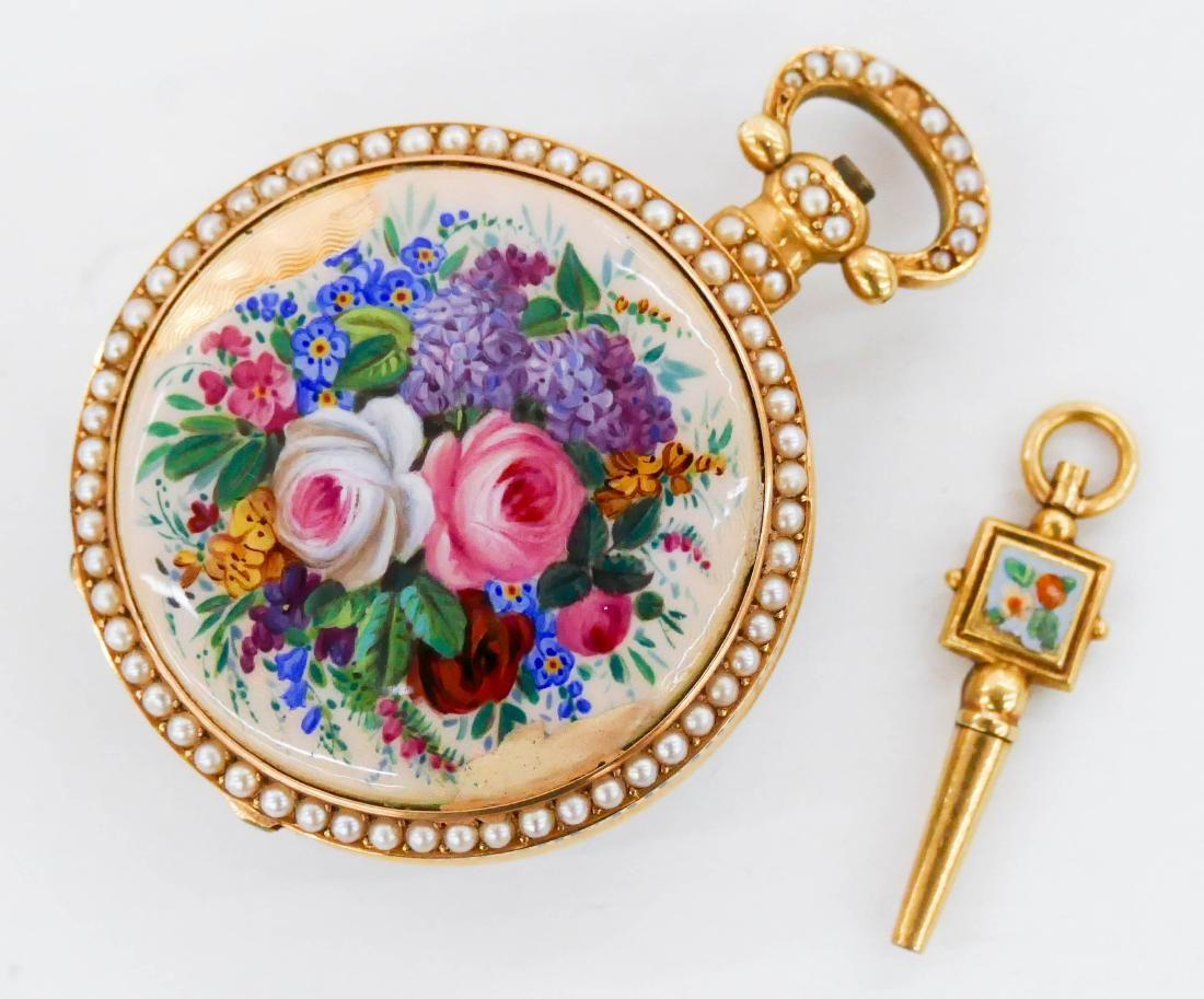 Lady's Edwardian 14k Enameled Pocket Watch in Original