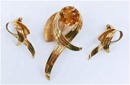 Ladys Citrine 14k Spray Brooch  Earring Suite