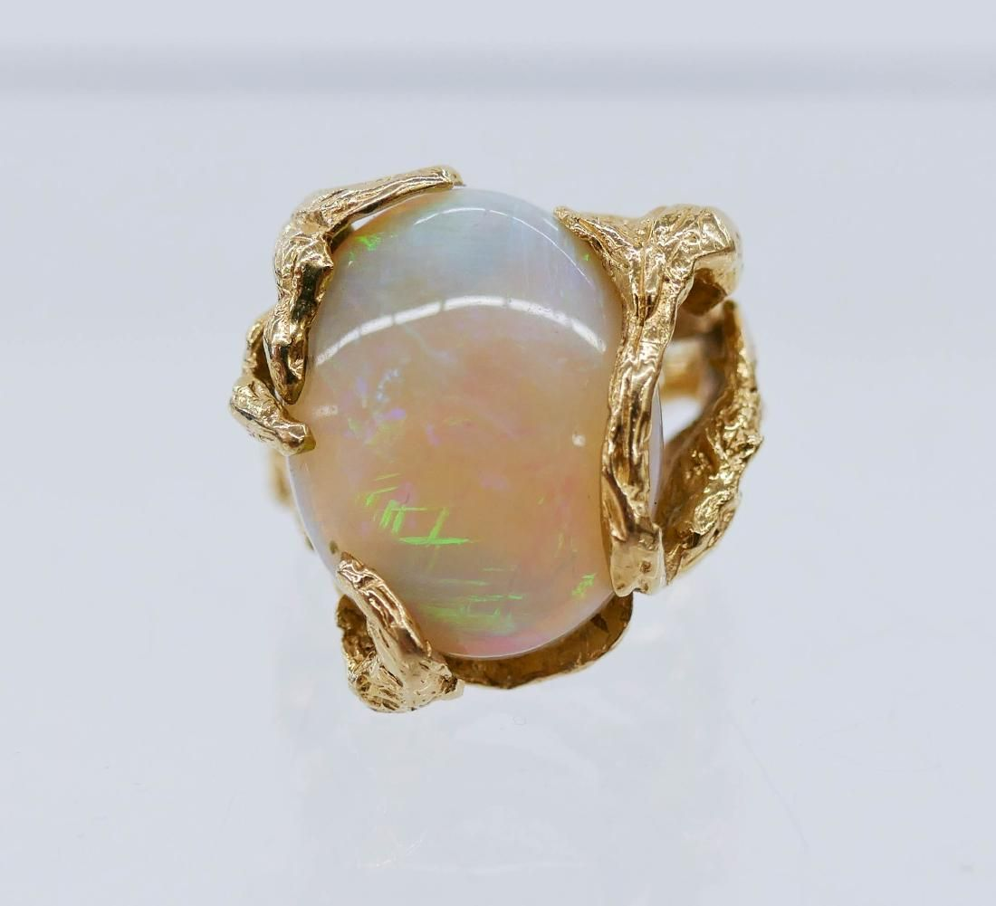 Large Opal Cabochon 14k Gold Ring Size 7. Includes a