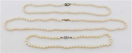 3pc Lady's Saltwater Pearl Necklaces. Includes a 22''