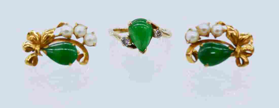 Lady's 14k Jadeite Ring & Earring Set. Includes a size