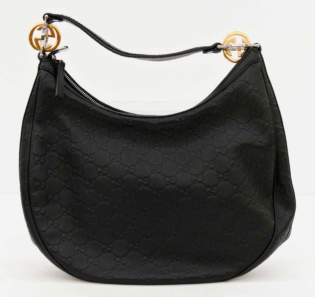 52551751b1c8 Gucci Guccissima GG Twins Hobo Black Leather Handbag