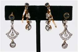 2 Pairs Lady's 18k Sapphire & Diamond Art Deco Dangle