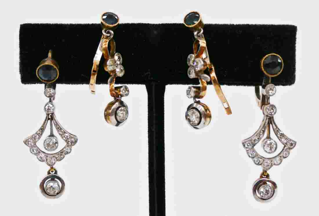 2 Pairs Lady's 18k Sapphire & Diamond Art Deco Dangle