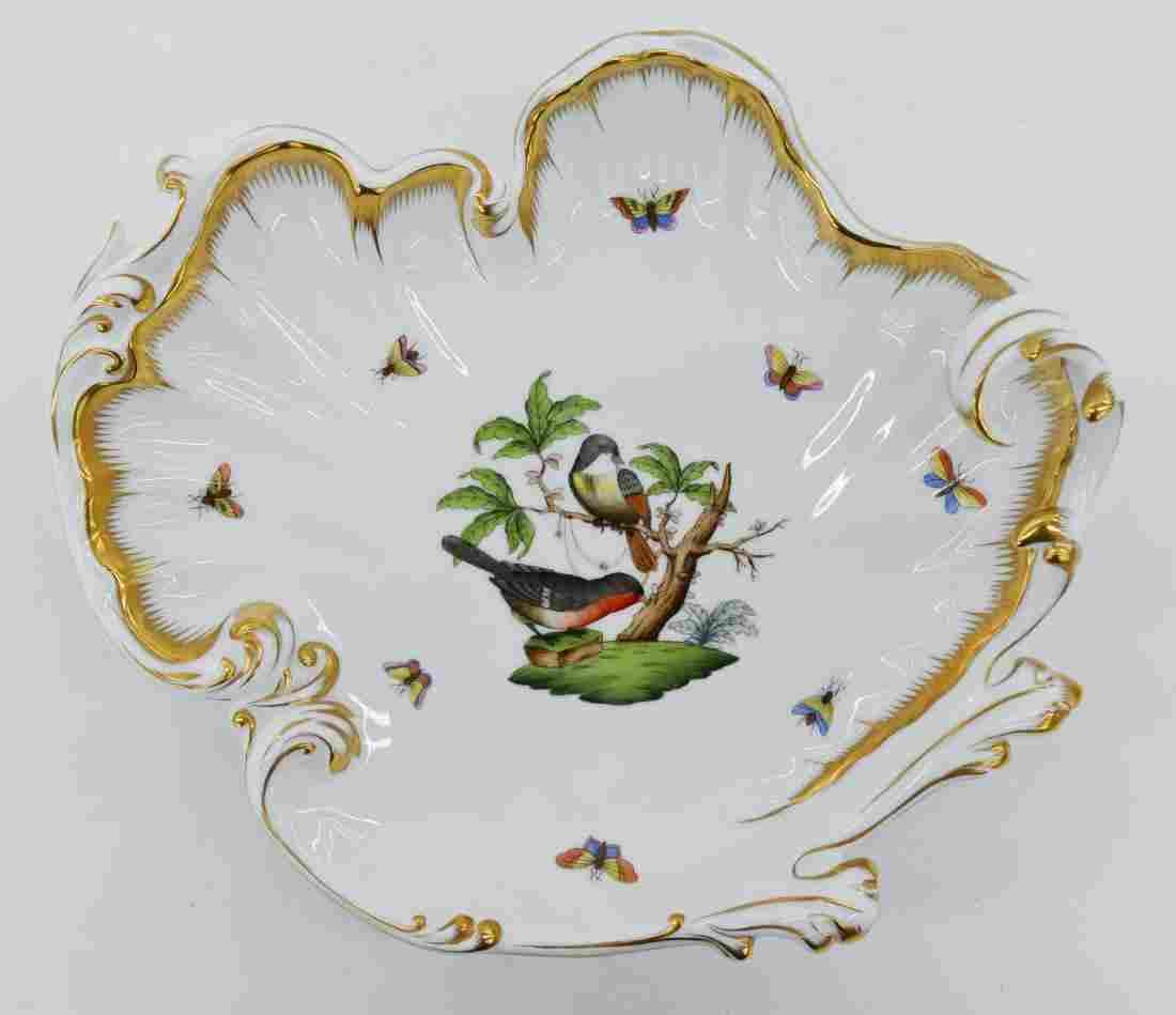 Herend Rothschild Bird Large Shell Dish 10.5''x12''.