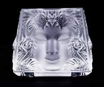 Lalique ''Masque de Femme'' Clear Crystal Votive