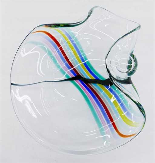 Livio Seguso For Oggetti Rainbow Murano Glass Bowl