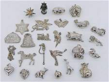 27pc Various Sterling Christmas Ornaments. Includes